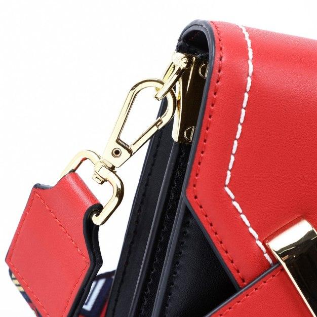 Red Color Block Small Women's Crossbody Bag