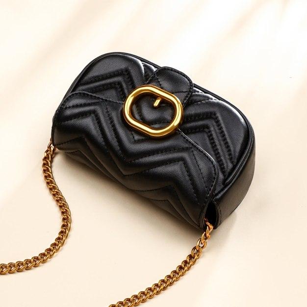 Black Plain Small Women's Crossbody Bag