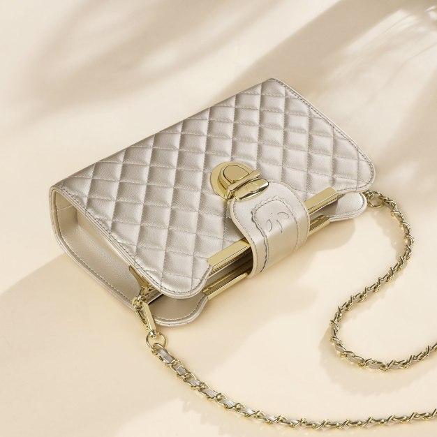 Silver Plain Medium Women's Crossbody Bag