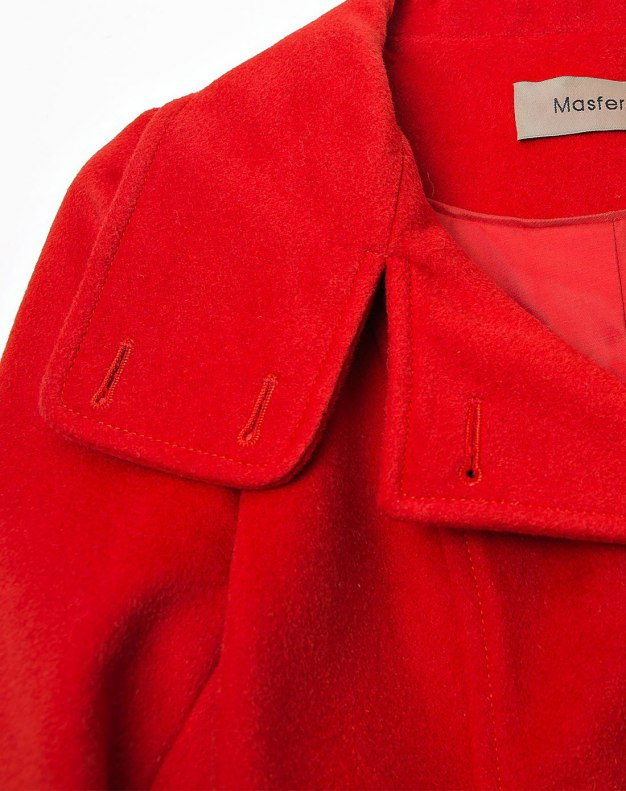 Red Lapel Single Breasted Women's Coat