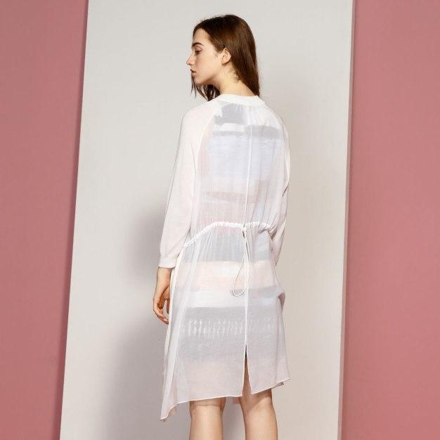 White Plain Baseball Collar Long Sleeve Women's Knitwear