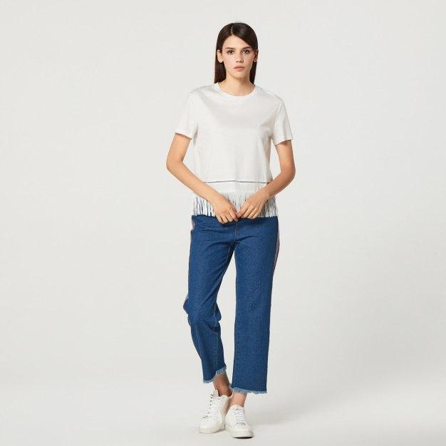 White Plain Round Neck Short Sleeve Women's T-Shirt