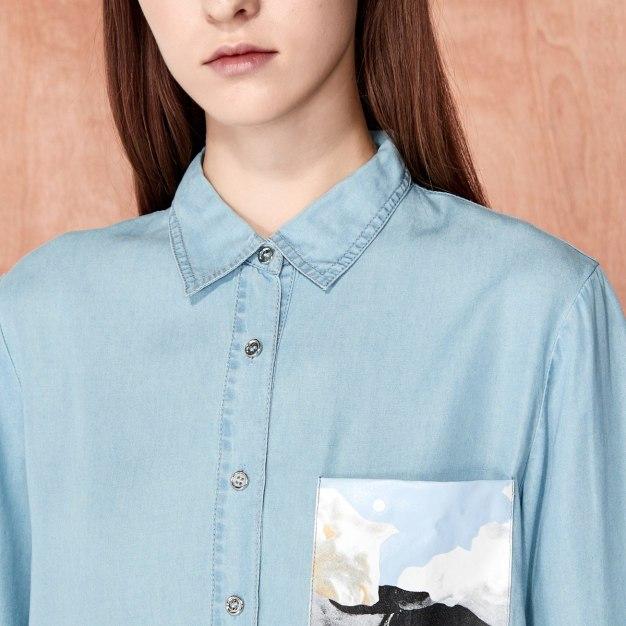 Blue Plain Regular Collar Half Sleeve Women's Shirt