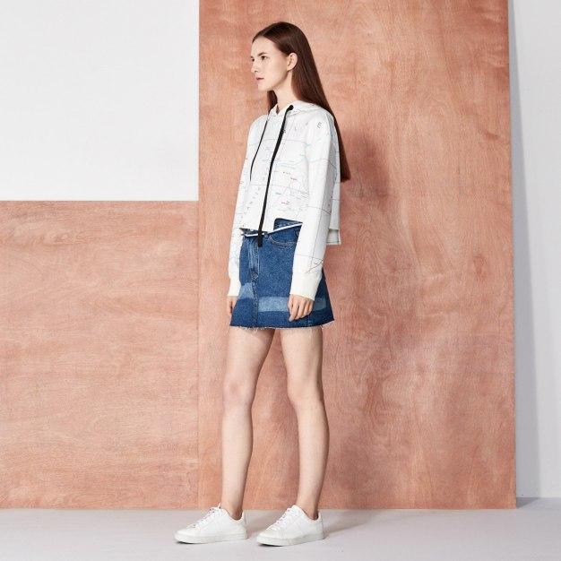 Strappy Neck Elastic Long Sleeve Standard Women's Sweatshirt