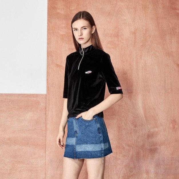 Black Plain High Collar Half Sleeve Fitted Women's T-Shirt