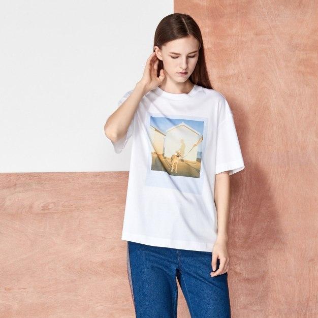 White Round Neck Short Sleeve Women's T-Shirt