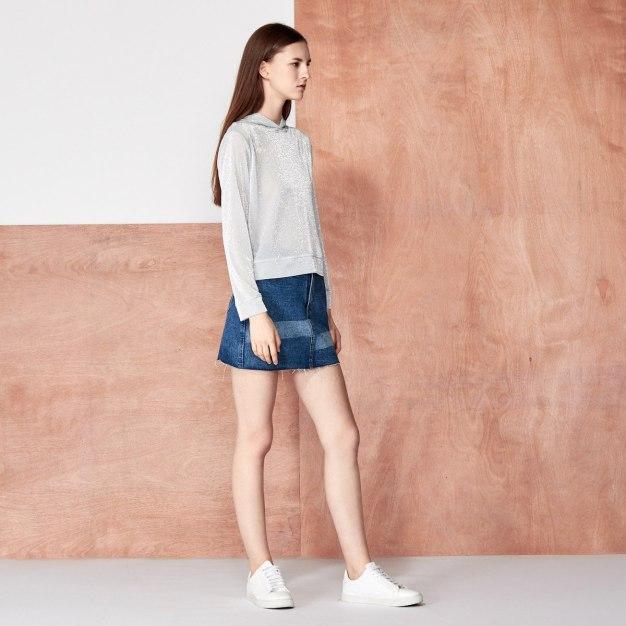 Silver Plain Round Neck Elastic Long Sleeve Women's Sweatshirt