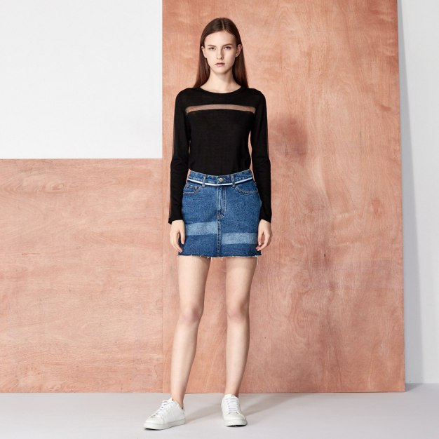 Black Plain Round Neck Elastic Long Sleeve Women's Knitwear