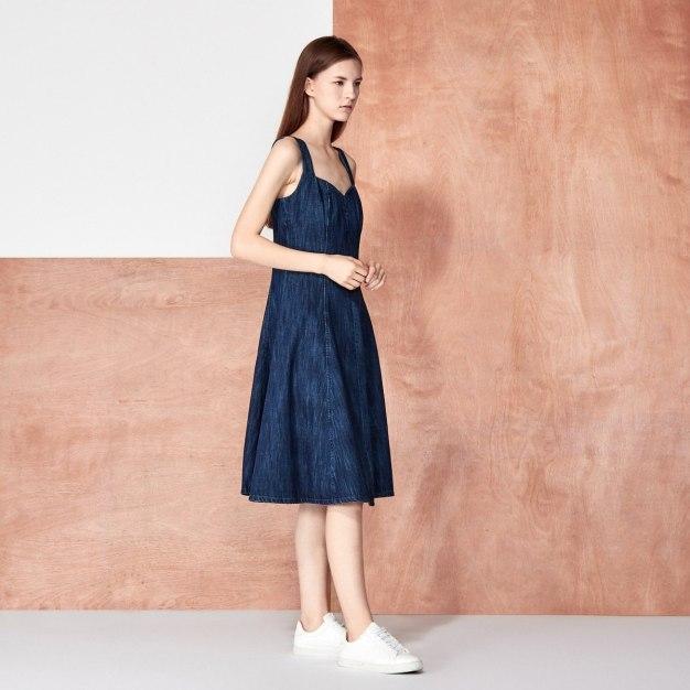 Blue Sleeveless 3/4 Length A Line Women's Dress
