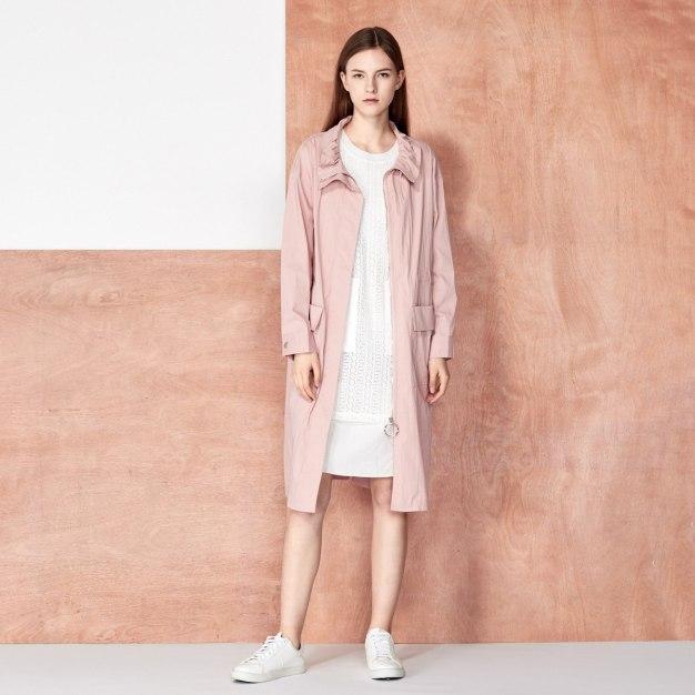 Pink Half high zipper Collar Long Sleeve Women's Windbreaker