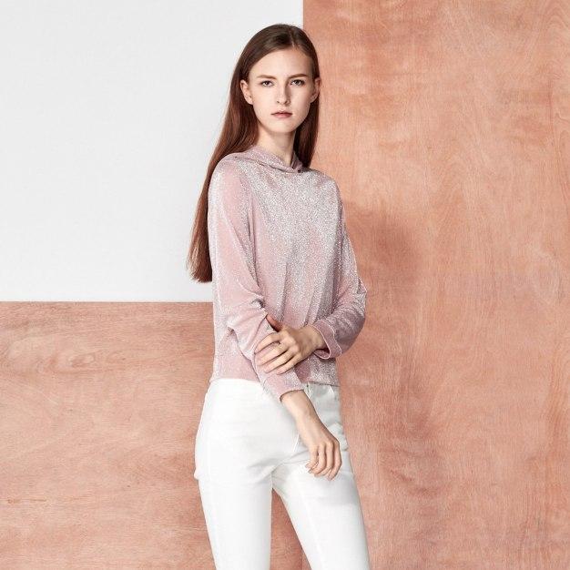 Red Plain Round Neck Elastic Long Sleeve Women's Sweatshirt