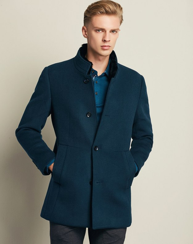 Green Stand Collar Long Sleeve Fitted Men's Outerwear