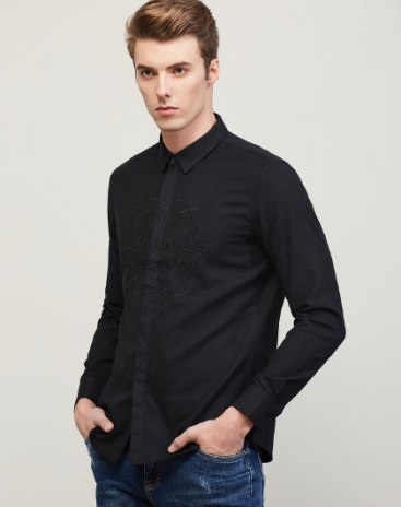 Black Plain Pointed Collar Long Sleeve Fitted Men's Shirt