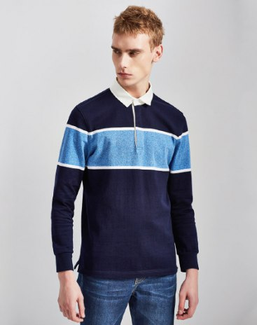 Blue Plain Neck Long Sleeve Fitted Men's Polo