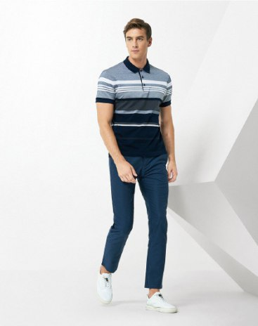 Gray Stripes Lapel Short Sleeve Standard Men's Polo