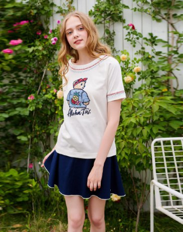 White Scoop Neck Short Sleeve Fitted Women's T-Shirt