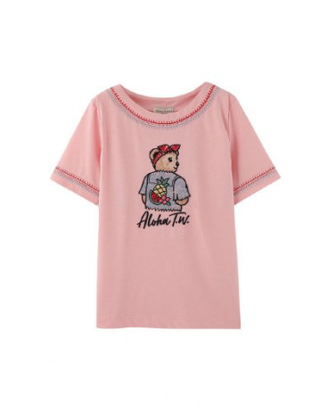 Pink Scoop Neck Short Sleeve Fitted Women's T-Shirt