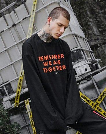 Black Round Neck Long Sleeve Standard Men's T-Shirt