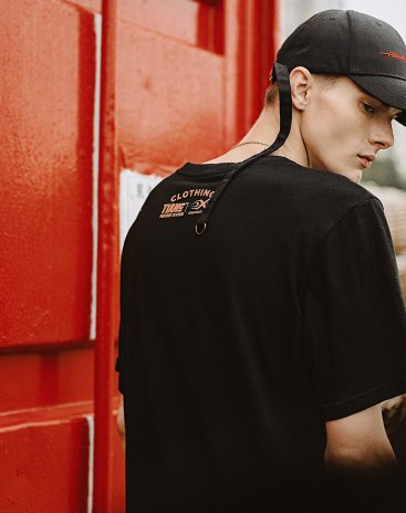 Black Plain Round Neck Short Sleeve Standard Men's T-Shirt