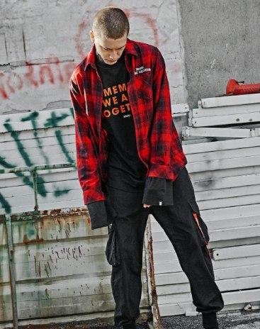 Black Lapel Long Sleeve Standard Men's Shirt