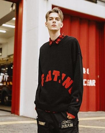 Black Regular Collar Long Sleeve Standard Men's Sweater
