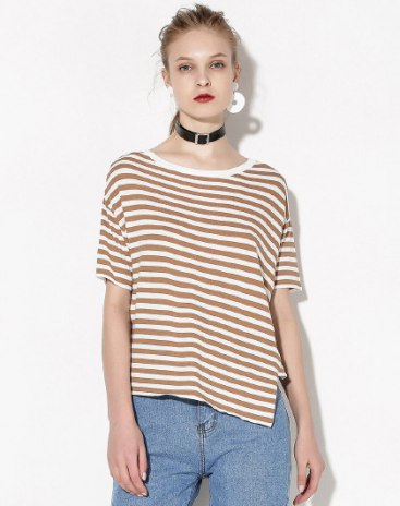 Stripes Round Neck Elastic Short Sleeve Women's Knitwear