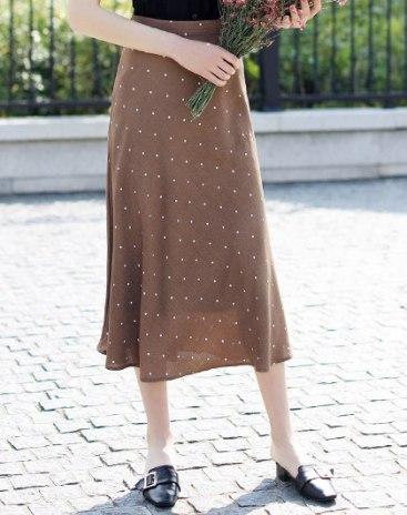 High Waist 3/4 Length Women's A Line Skirt