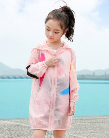 Pink Long Sleeve Loose Mid Length Girls' Rashguard