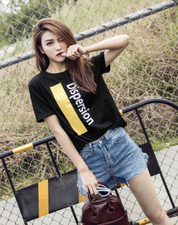 Black Round Neck Short Sleeve Anti-Pilling Women's T-Shirt