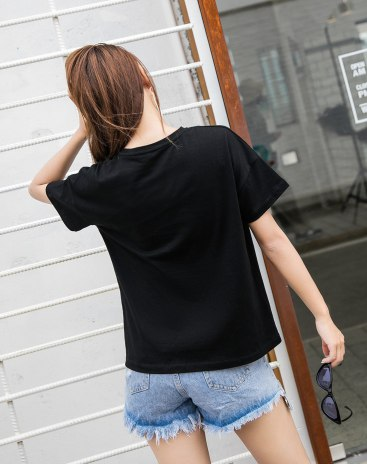 Black Round Neck Short Sleeve Quick Drying Women's T-Shirt