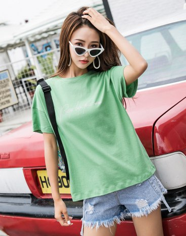 Green Round Neck Short Sleeve Quick Drying Women's T-Shirt