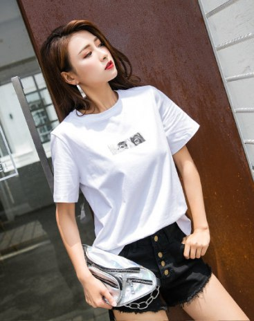 White Round Neck Short Sleeve Quick Drying Women's T-Shirt
