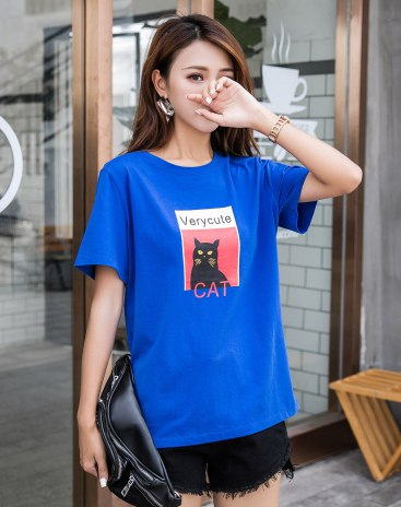 Blue Round Neck Short Sleeve Quick Drying Women's T-Shirt