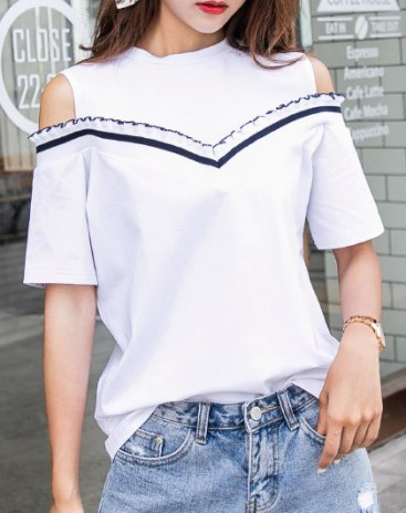 White Round Neck Short Sleeve Anti-Pilling Women's T-Shirt