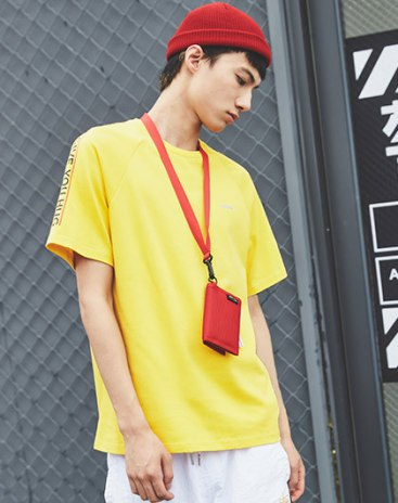 Yellow Round Neck Short Sleeve Loose Men's T-Shirt