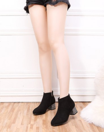 Black High Top Square Toe Middle Heel Ankle Boot Women's Boots