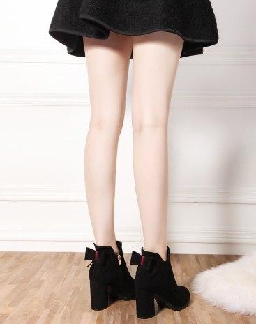 Black Top Pointed High Heel Heighten Women's Martin Boots