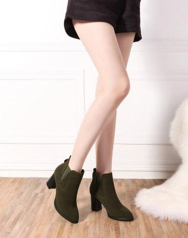 Green Round Head High Heel Heighten Women's Chelsea Boots