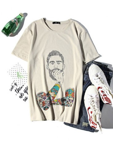Print Round Neck Short Sleeve Standard Men's T-Shirt