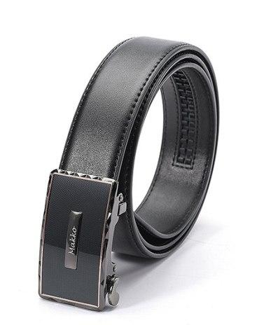Black Glossy Two Plies Cowhide Men's Belt