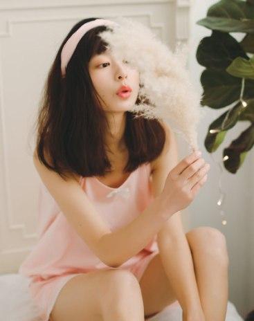 Pink Cotton Sleeveless Standard Women's Loungewear