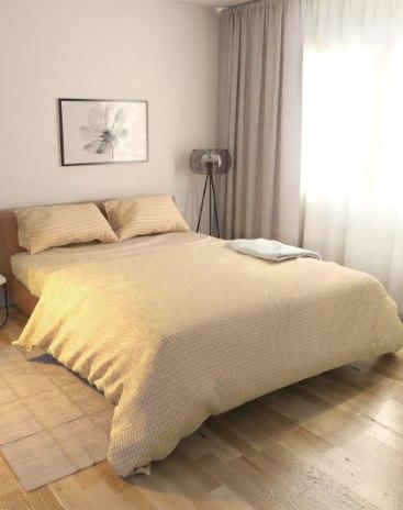 4 Pieces Sheets Type Cotton Beige Bedding Set