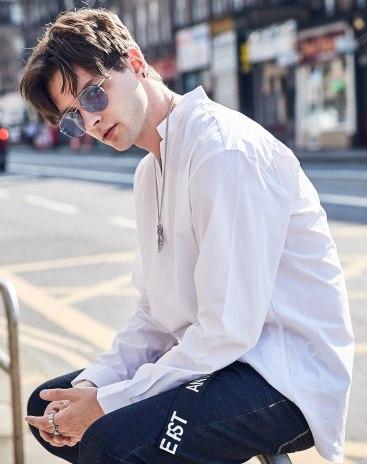 White Plain Stand Collar Long Sleeve Loose Men's Shirt