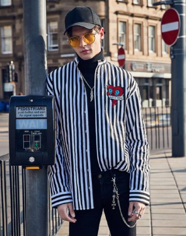 White Stripes Stand Collar Long Sleeve Loose Men's Shirt