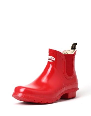 Red Cut Round Head Low Heel Anti Skidding Women's Rain Boots