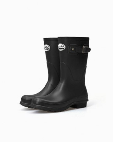 Black High Top Round Head Low Heel Women's Rain Boots