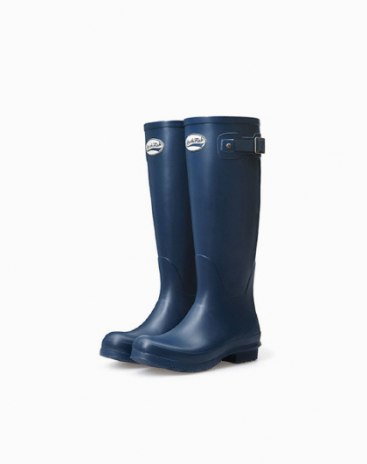 Blue Top Round Head Low Heel High Women's Rain Boots