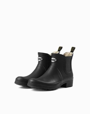Black Cut Round Head Low Heel Anti Skidding Women's Rain Boots