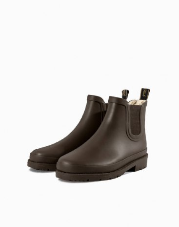 Coffee Round Head Low Heel Anti Skidding Women's Rain Boots