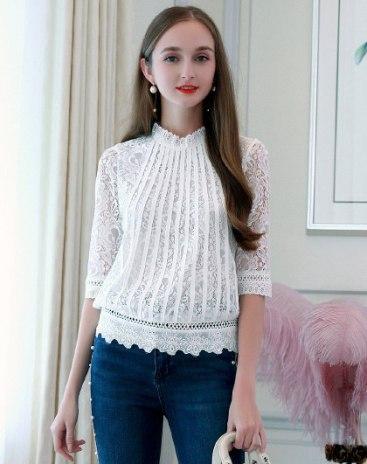 White Plain Stand Collar Women's Innerwear Top